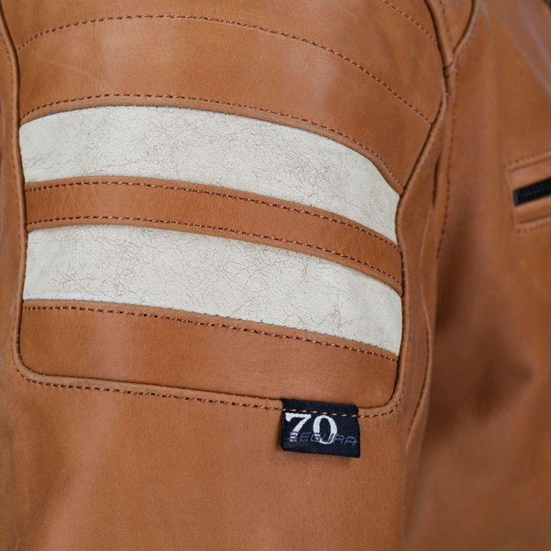 Blouson cuir Segura STRIPE camel/beige - 2