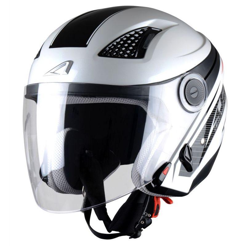 casque jet femme astone dj10 graphic exclusive bel air blanc noir casques moto sur la b canerie. Black Bedroom Furniture Sets. Home Design Ideas