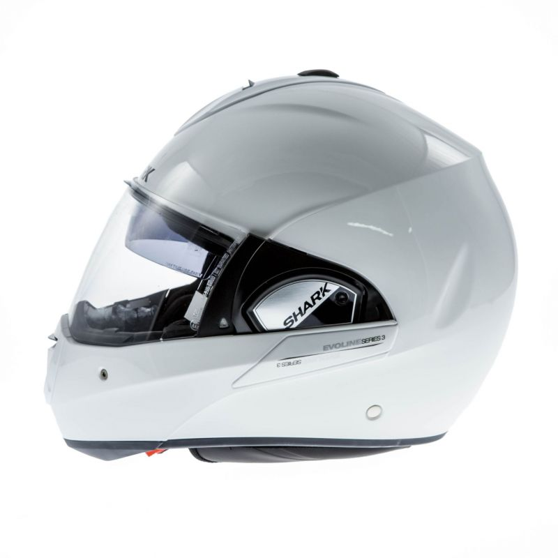 casque modulable shark evoline 3 blanc casques moto sur la b canerie. Black Bedroom Furniture Sets. Home Design Ideas