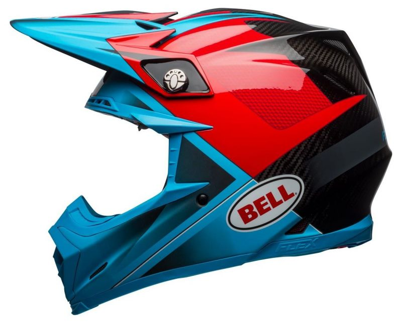 Casque cross Bell Moto 9 Flex Hound Gloss bleu mat/rouge - 1