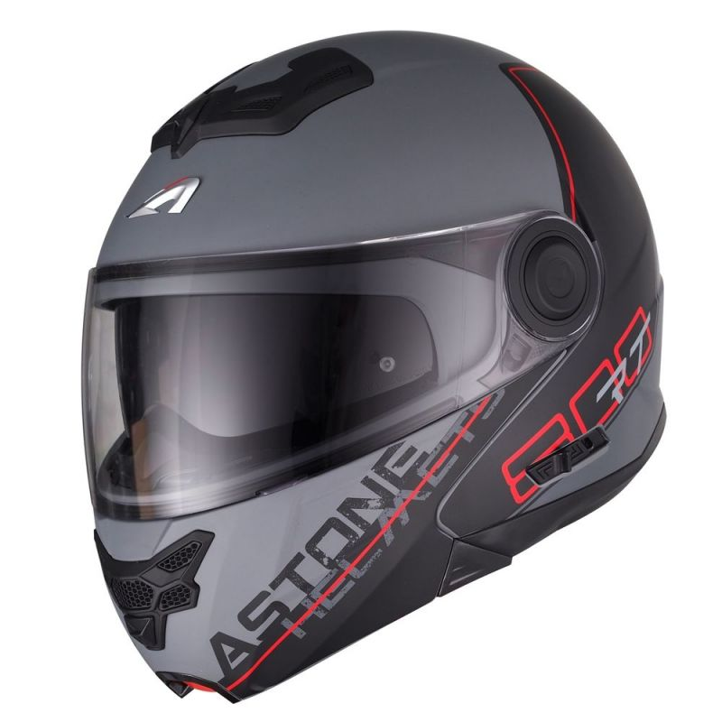 Casque modulable Astone RT800 graphic exclusive LINETEK rouge/gris