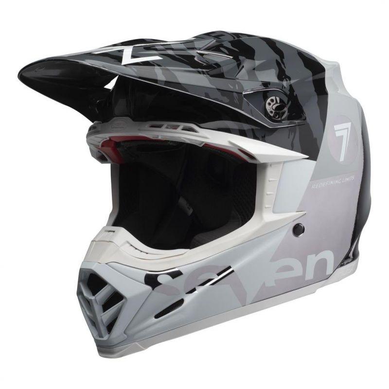 Casque cross Bell Moto-9 Flex Seven Zone noir/blanc/chrome