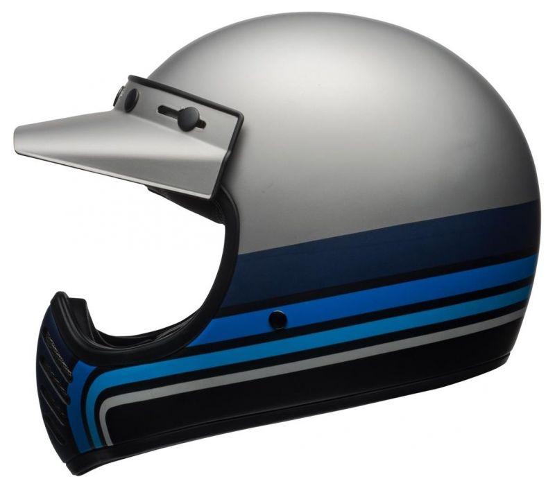 Casque Bell Moto 3 Matte argent/noir/blue Stripes - 1