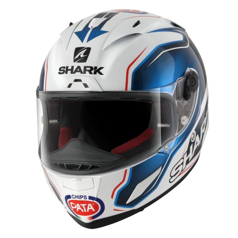 casque int gral shark race r pro guintoli blanc bleu noir casques moto sur la b canerie. Black Bedroom Furniture Sets. Home Design Ideas