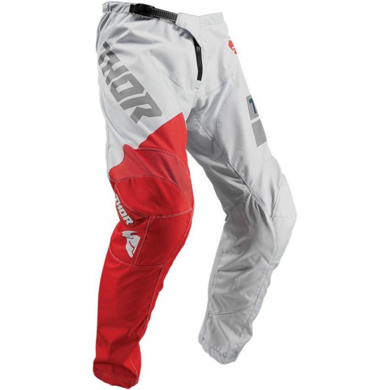 Pantalon cross enfant Thor Sector Shear gris clair/rouge - 2