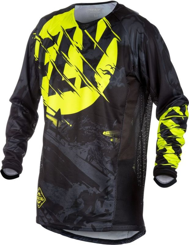 Maillot cross Fly Racing Kinetic Outlaw noir/jaune fluo - 1