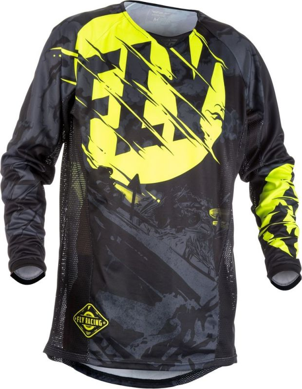 Maillot cross Fly Racing Kinetic Outlaw noir/jaune fluo