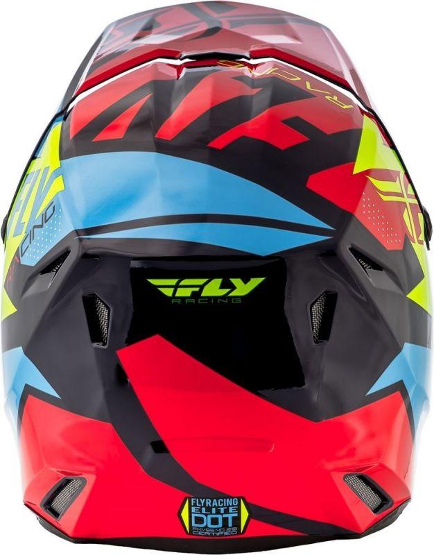 Casque cross Fly Racing Elite Guild rouge/bleu/jaune fluo - 2