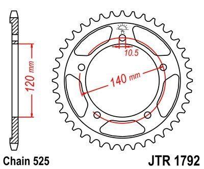 Couronne JT Sprockets Acier pas 525 44 dents - Pour Suzuki GSX-R 600 01-10