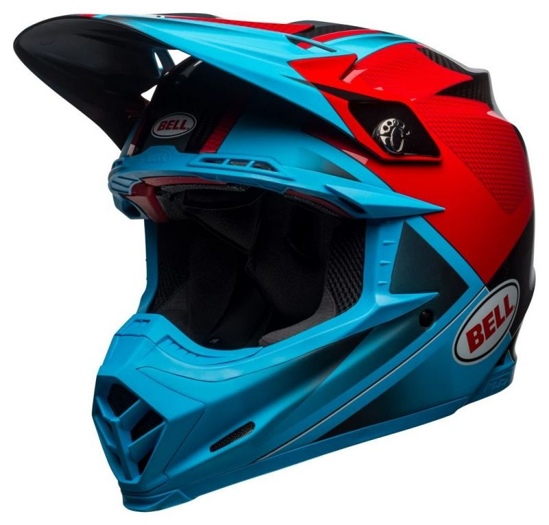 Casque cross Bell Moto 9 Flex Hound Gloss bleu mat/rouge