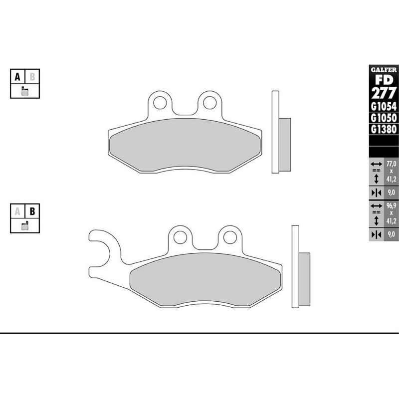 Plaquettes de frein Galfer G1050 semi-métal FD277 - 1