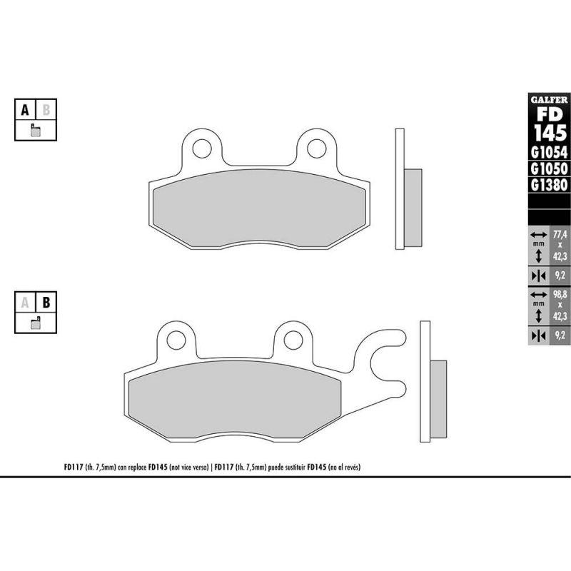 Plaquettes de frein Galfer G1050 semi-métal FD145 - 1