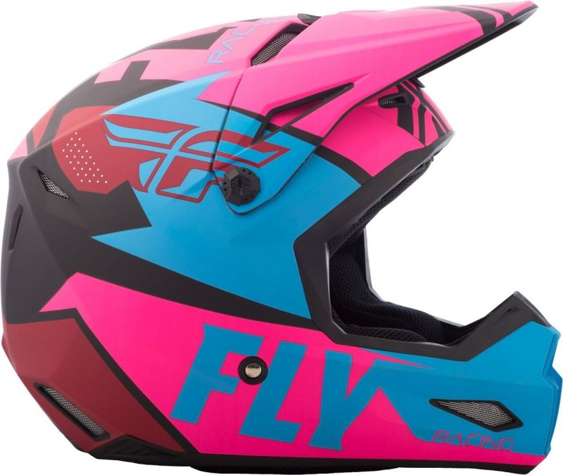 Casque cross Fly Racing Elite Guild noir/rose/bleu - 1