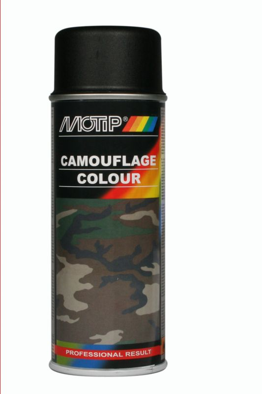 bombe peinture camouflage noir mat ral 9021 motip 400 ml. Black Bedroom Furniture Sets. Home Design Ideas