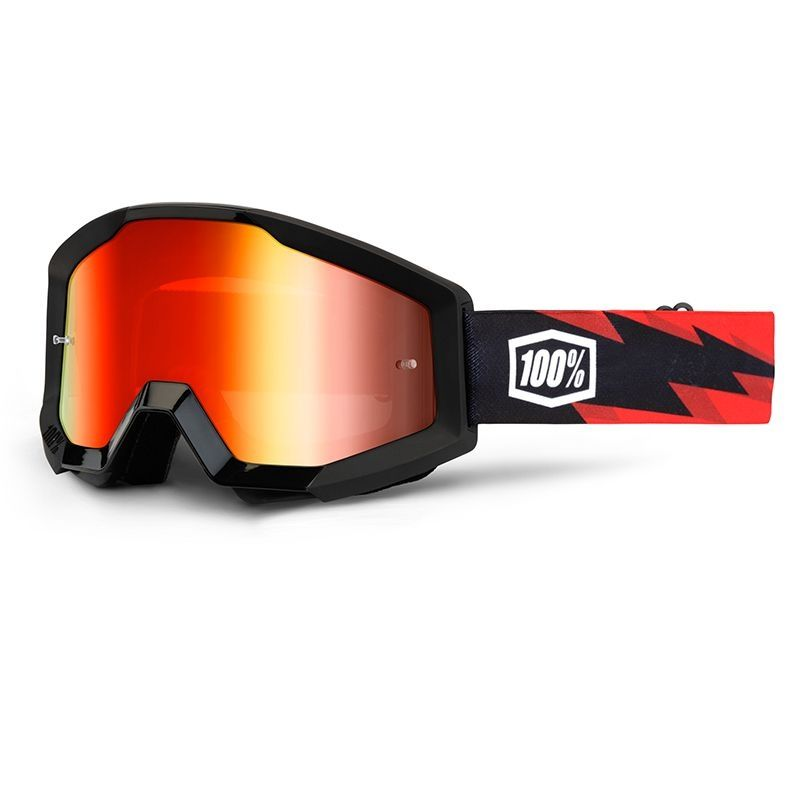 Masque cross 100% STRATA SLASH mirror red lens rouge/noir