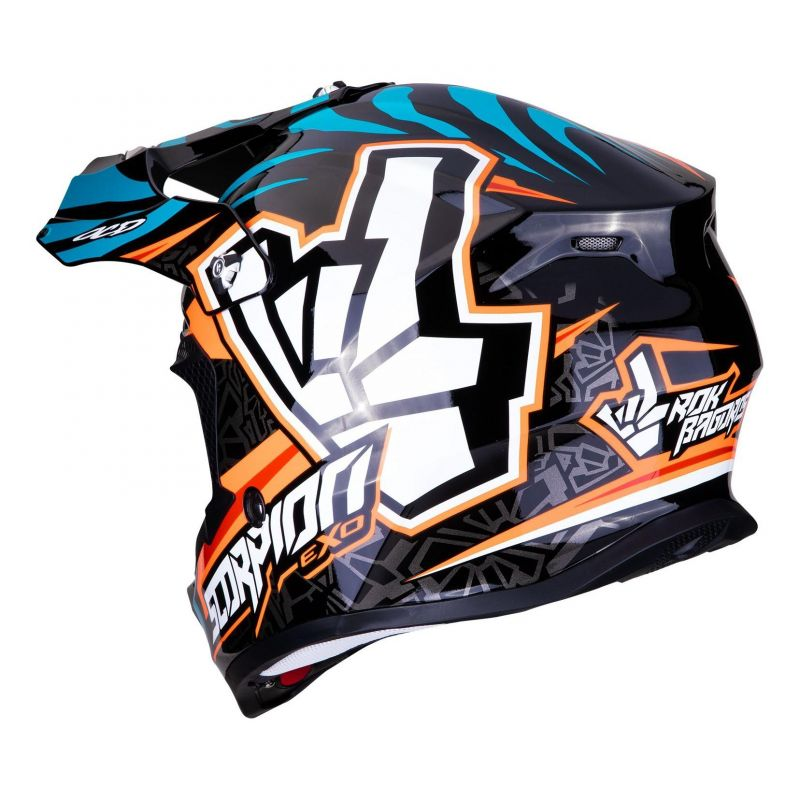 Casque cross Scorpion VX-16 Air Replica Rok orange/bleu - 1