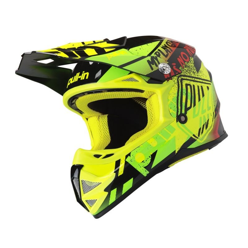 Casque cross enfant Pull-in Trash jaune fluo/lime