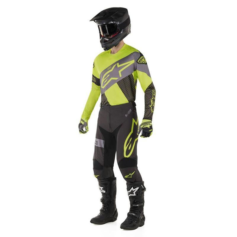 Maillot cross Alpinestars Racer Tech Atomic noir/jaune fluo/gris - 1