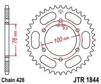 Couronne JT Sprockets Acier pas 428 48 dents - Pour Yamaha MT-125 15-16