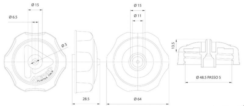 Bouchon de réservoir Acerbis noir - 1