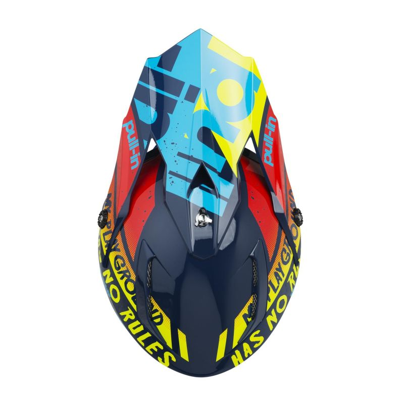 Casque cross Pull-in Trash cyan/rouge - 2