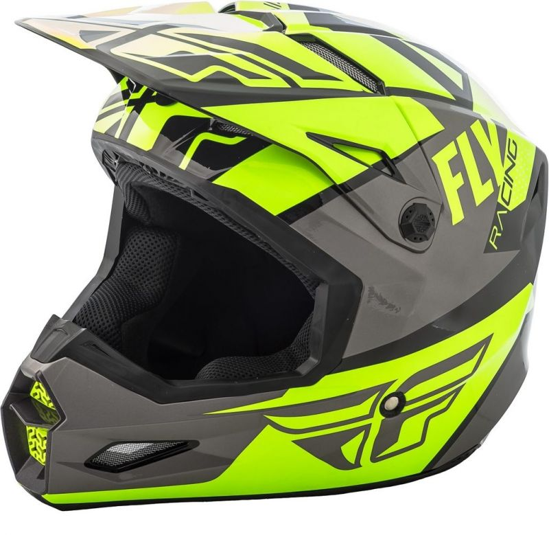 Casque cross Fly Racing Elite Guild gris/jaune fluo