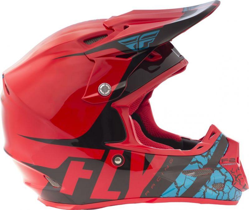 Casque cross Fly Racing F2 Carbon Fracture rouge/noir/bleu - 1