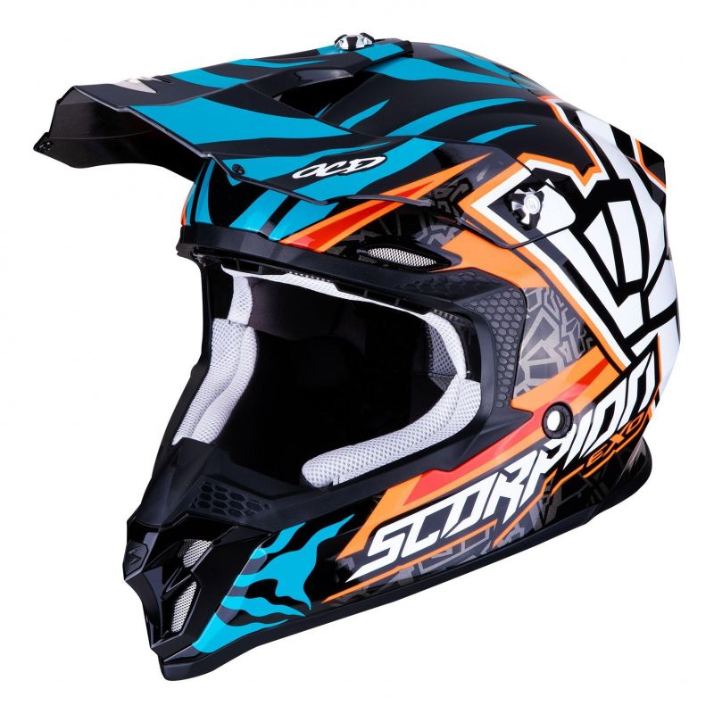 Casque cross Scorpion VX-16 Air Replica Rok orange/bleu