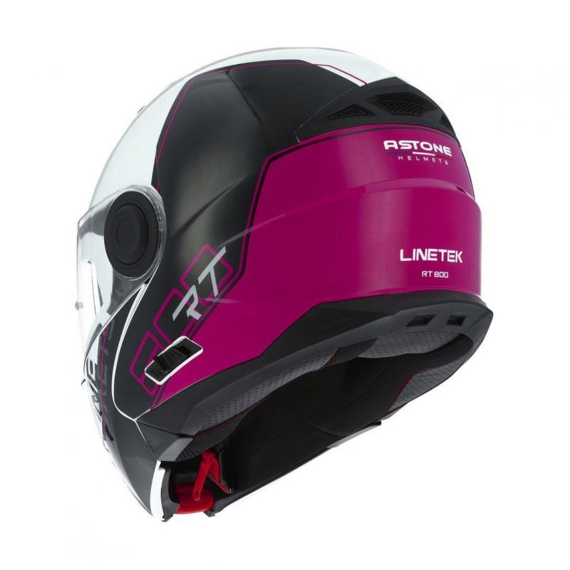 Casque modulable Astone RT800 graphic exclusive LINETEK rose/blanc - 1