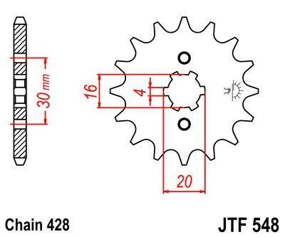 Pignon JT Sprockets Acier pas 428 14 dents - Pour Yamaha TT-R 125 00-16