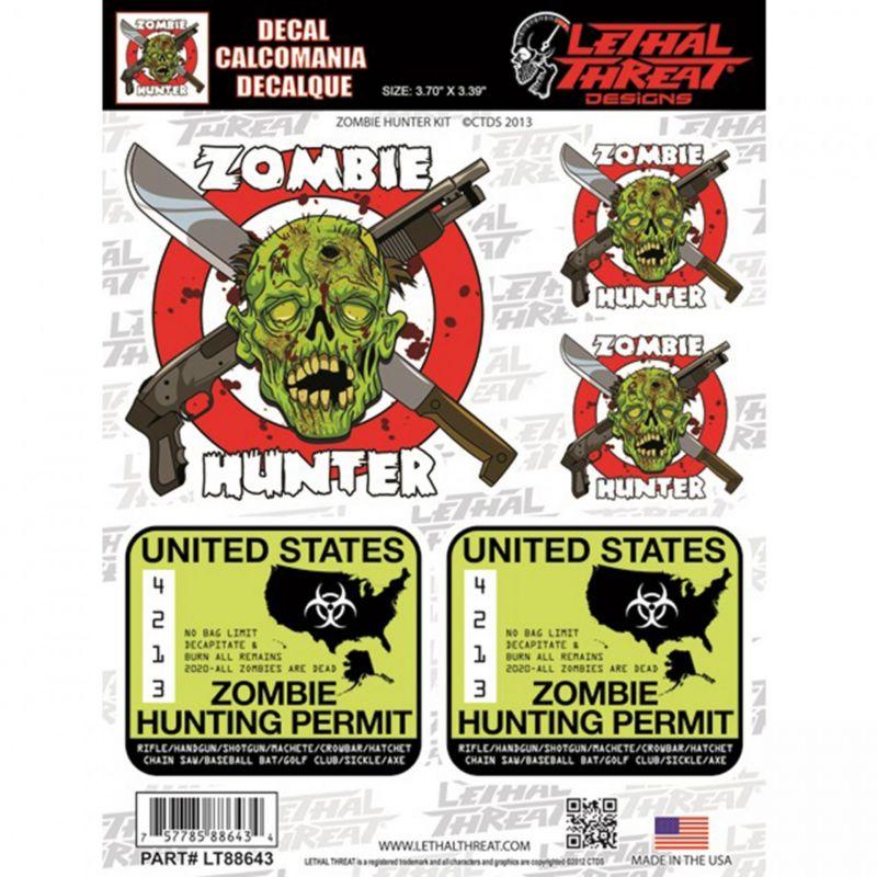 Autocollant Lethal Threat Zombie hunter 15x20cm
