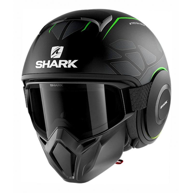 Casque jet Shark Street-Drak Hurok Mat noir/vert/noir