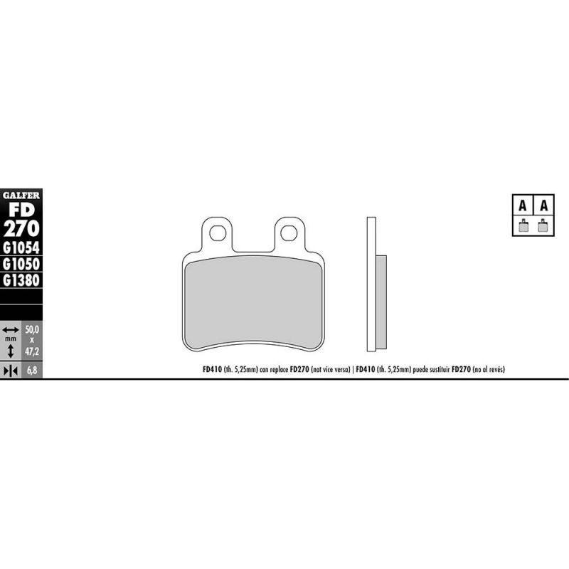 Plaquettes de frein Galfer G1050 semi-métal FD270 - 1