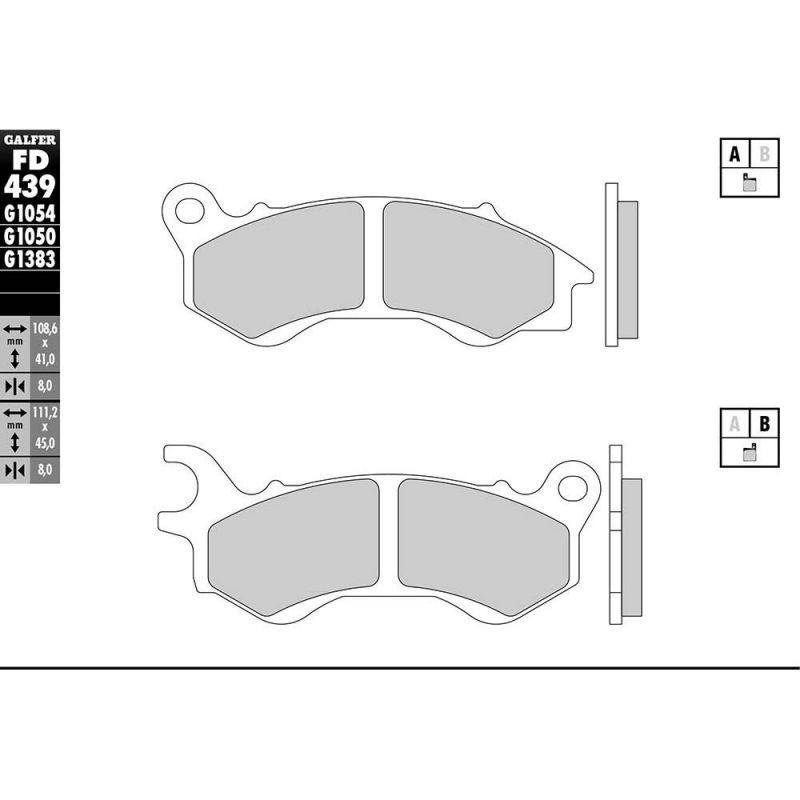 Plaquettes de frein Galfer G1050 semi-métal FD439 - 1