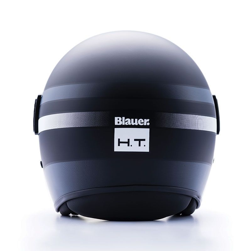 Casque jet Blauer POD Stripes noir/blanc/titane mat - 2