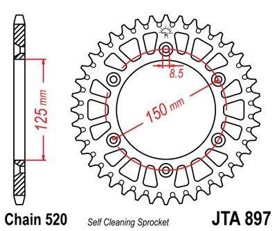 Couronne JT Sprockets Aluminium pas 520 42 dents - Pour KTM 125 EXC 01-11