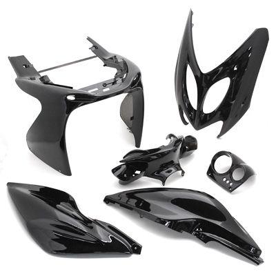 kit carrosserie 6 pi ces noir brillant adaptable nitro aerox pi ces car nage sur la b canerie. Black Bedroom Furniture Sets. Home Design Ideas