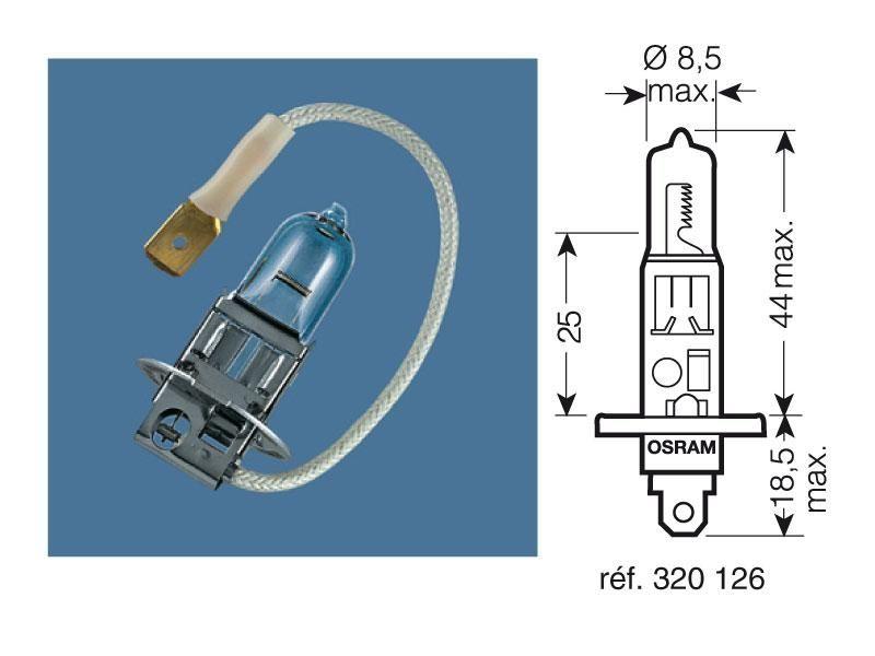 ampoule h1 osram 12v 55w p14 5s pi ces electrique sur la b canerie. Black Bedroom Furniture Sets. Home Design Ideas