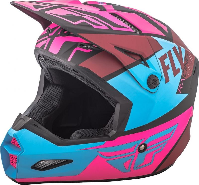 Casque cross Fly Racing Elite Guild noir/rose/bleu