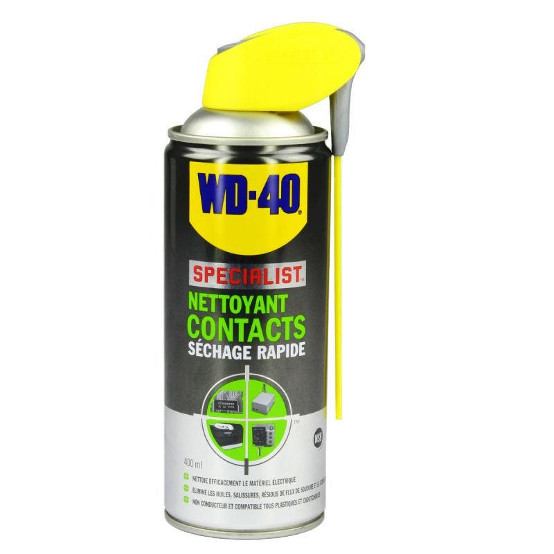 spray nettoyant contacts wd40 400ml lubrifiant sur la b canerie. Black Bedroom Furniture Sets. Home Design Ideas