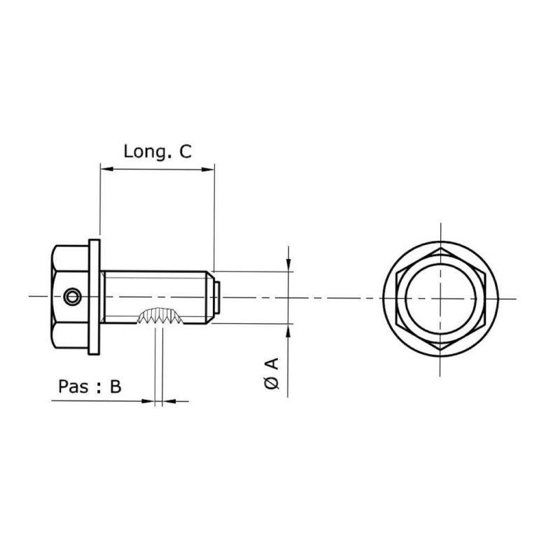 Bouchon de vidange d'huile moteur Tecnium aluminium non aimanté Ø M16 x 1,5 x 14 mm - 1