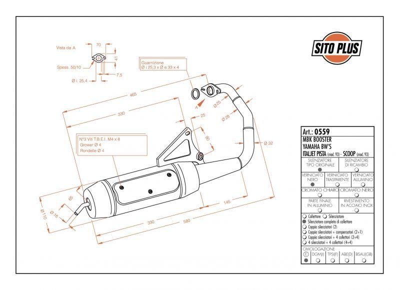 Pot d'échappement Sitoplus pour Yamaha BW'S 50 98-99 - 1