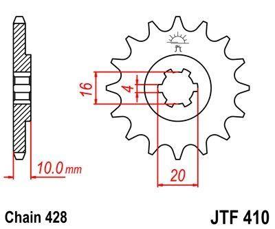 Pignon JT Sprockets Acier pas 428 14 dents - Pour Suzuki VL 125 Intruder LC 00-07