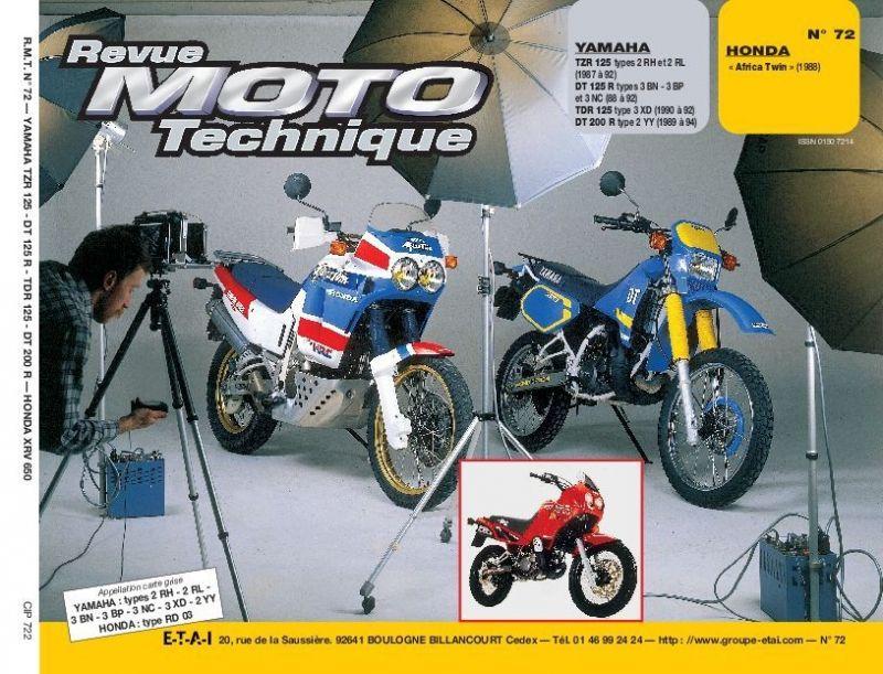 revue moto technique 72 2 yamaha 125 tzr dt 200 r honda xrv 750 africa twin 1988 pi ces. Black Bedroom Furniture Sets. Home Design Ideas