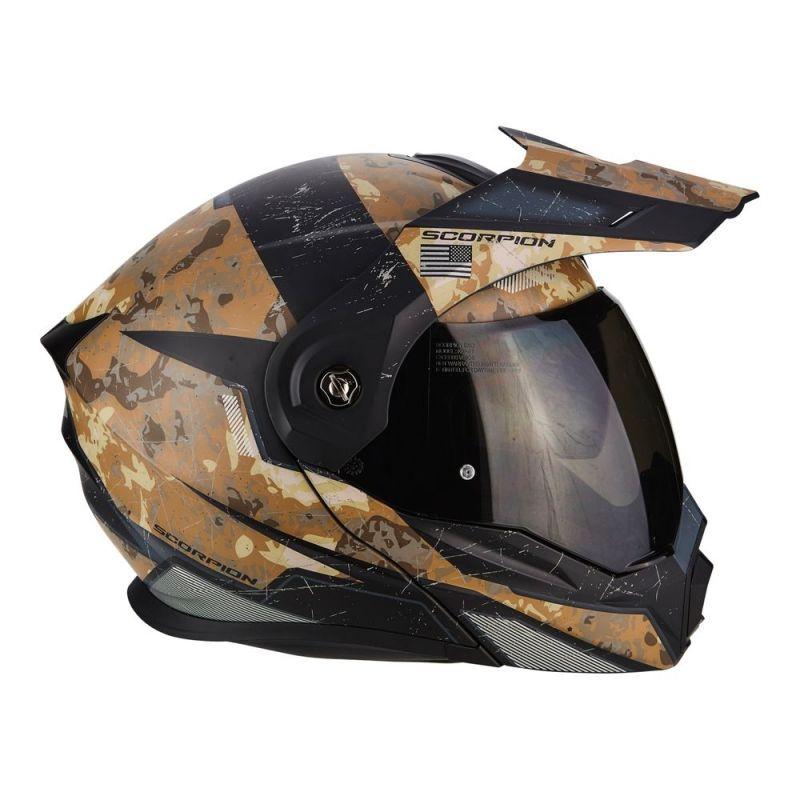 casque modulable scorpion adx 1 battleflage sable gris casques moto sur la b canerie. Black Bedroom Furniture Sets. Home Design Ideas