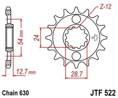 Pignon JT Sprockets Acier pas 630 15 dents - Pour Kawasaki Z1100 84-86