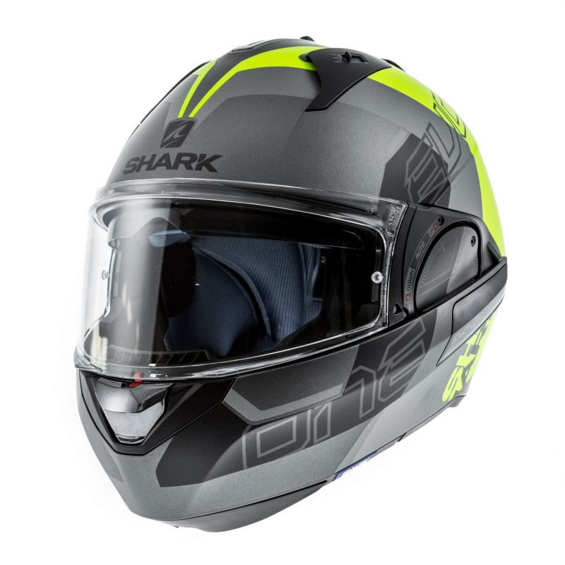 casque modulable shark evo one 2 slasher mat anthracite jaune fluo noir casques moto sur la. Black Bedroom Furniture Sets. Home Design Ideas