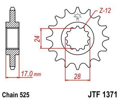 Pignon JT Sprockets Acier pas 525 15 dents - Pour Honda CB 600 F Hornet 98-06