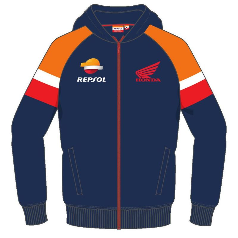Sweat zippé à capuche Repsol navy/orange/rouge