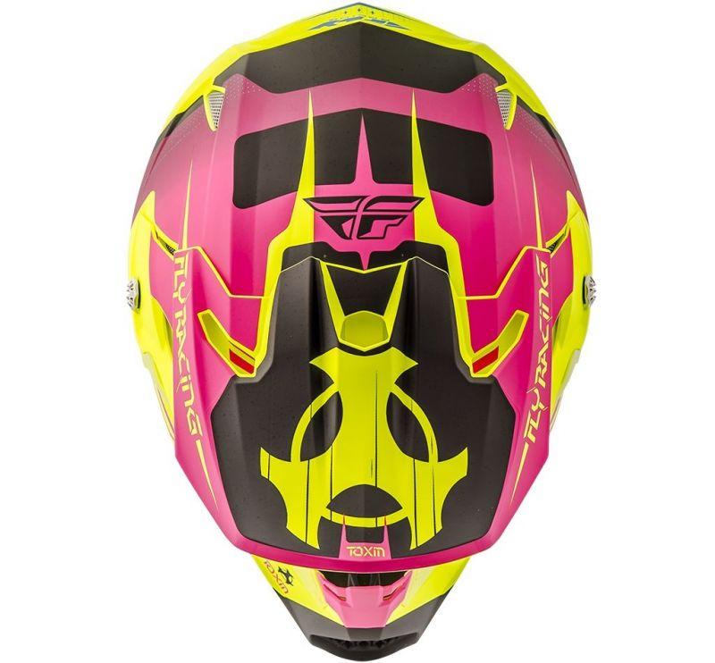 Casque cross Fly Racing Toxin jaune fluo mat/rose - 2